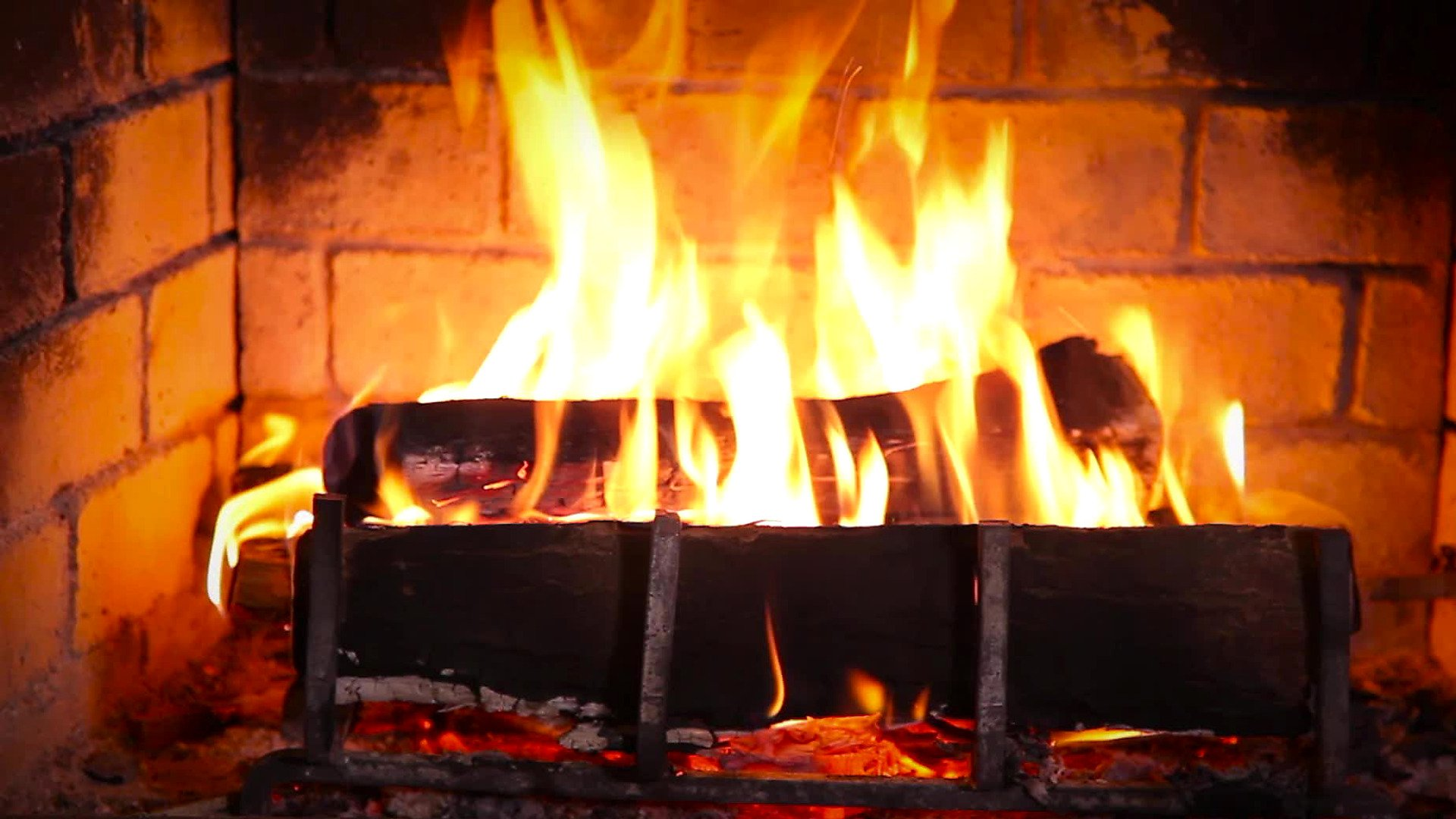 Yule Log Burning in a Fireplace